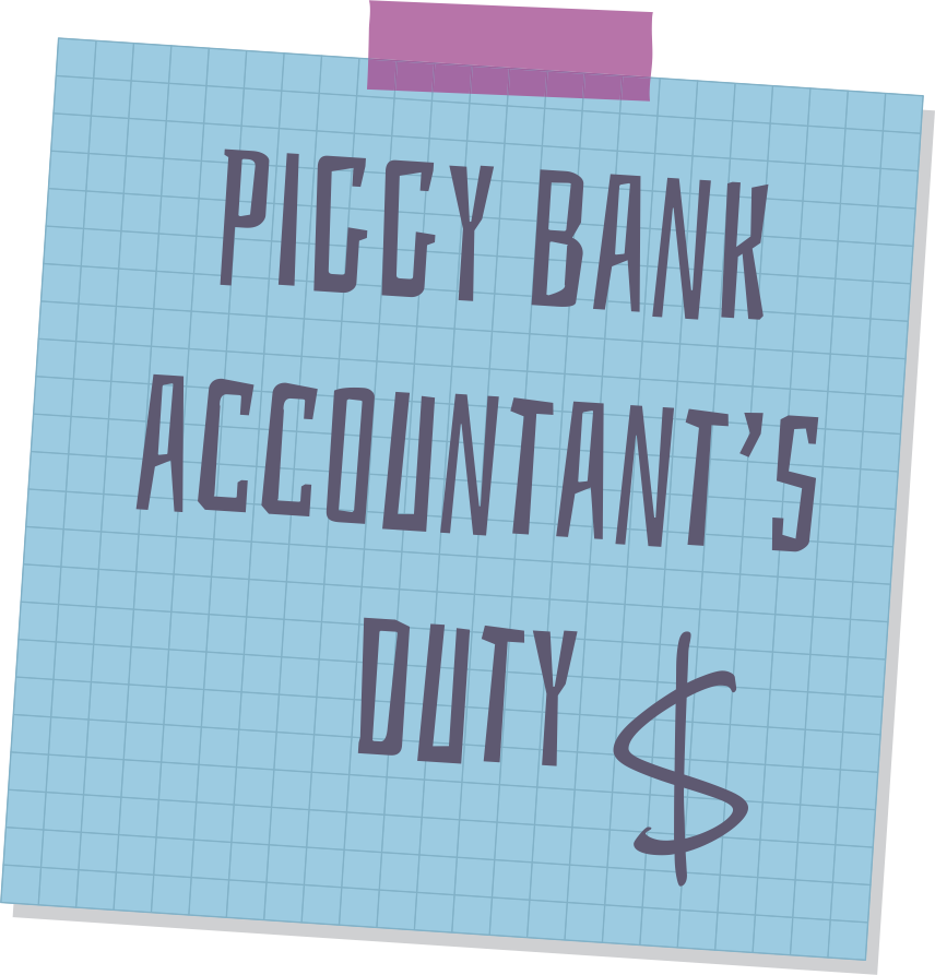 Sticker with Piggy Bank Accountant Duty caption